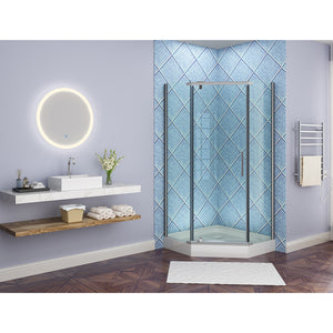 SUNNY SHOWER Round LED Backlit Bathroom Vanity Mirror w/ Touch Button, Warm White - SUNNY SHOWER
