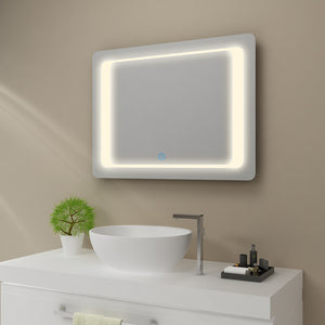 SUNNY SHOWER LED Backlit Bathroom Vanity Mirror w/ Touch Button, Warm White - SUNNY SHOWER