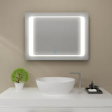 SUNNY SHOWER LED Bathroom Vanity Mirror w/ Touch Button vertically/ Horizontally, Clock Display Touch Adjustable Brightness, Warm White