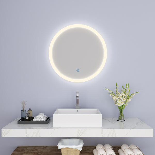 SUNNY SHOWER Round LED Backlit Bathroom Vanity Mirror w/ Touch Button, Warm White