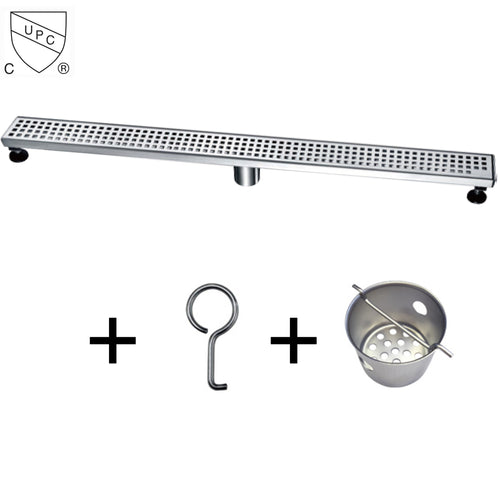 Dawn LBE Series Modern Stainless Steel Linear Shower Drain W/Groove Holes - SUNNY SHOWER