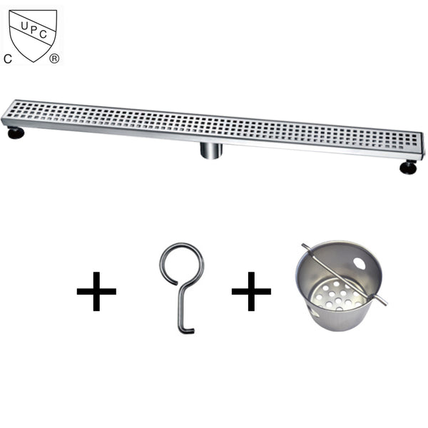 Dawn LBE Series Modern Stainless Steel Linear Shower Drain W/Groove Holes