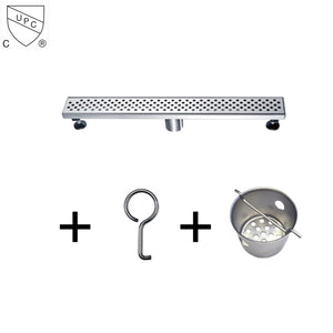 "Dawn 24"" Long Modern Stainless Steel Linear Bathroom Shower Drain various design - SUNNY SHOWER"