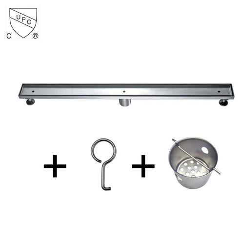 Dawn LCO Series Bathroom Linear Shower Drain Tile Insert Floor Drain Channel Stainless Steel - SUNNY SHOWER