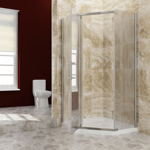 Sunny Shower Neo-Angle Frameless Shower Door  Corner Shower Enclosure Frosted / Obscure Glass A33S221 - SUNNY SHOWER