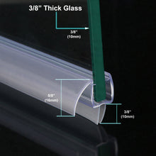 "Load image into Gallery viewer, SUNNY SHOWER A309D5-36 Glass Shower Door Seal Strip for 3/8"" Frameless Glass Door Bottom Sweep, 36""Length - SUNNY SHOWER"