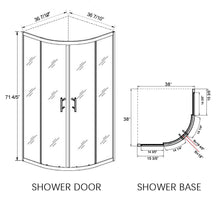Load image into Gallery viewer, Sunny Shower Neo-Round Corner Frameless Sliding Shower Doors 36 7/10 in. x 36 7/10 in. x 71 4/5 in. Clear Glass Chrome with 38 in. x 38 in. x 3 in. Shower Base B22S111+P82 - SUNNY SHOWER