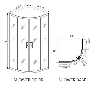 Sunny Shower Neo-Round Corner Frameless Sliding Shower Doors 36 7/10 in. x 36 7/10 in. x 71 4/5 in. Clear Glass Chrome with 38 in. x 38 in. x 3 in. Shower Base B22S111+P82 - SUNNY SHOWER