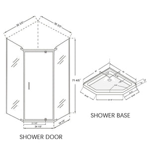 Sunny Shower A33S111 Neo Angle Frameless Corner Clear ANSI Glass Chrome Shower Enclosure 36 3/5 in. W x 36 3/5 in. D x 71 4/5 in. H Pivot Swing Shower Doors with 38 x 38 x 3 in. Base - SUNNY SHOWER