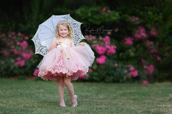 SOPHIA short blush pink haute couture gown wedding flower girl photoshoot