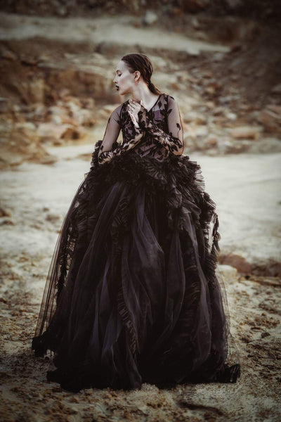 Black siren hills couture gown FW18 collection