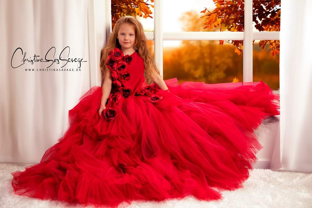 Red rose couture gown