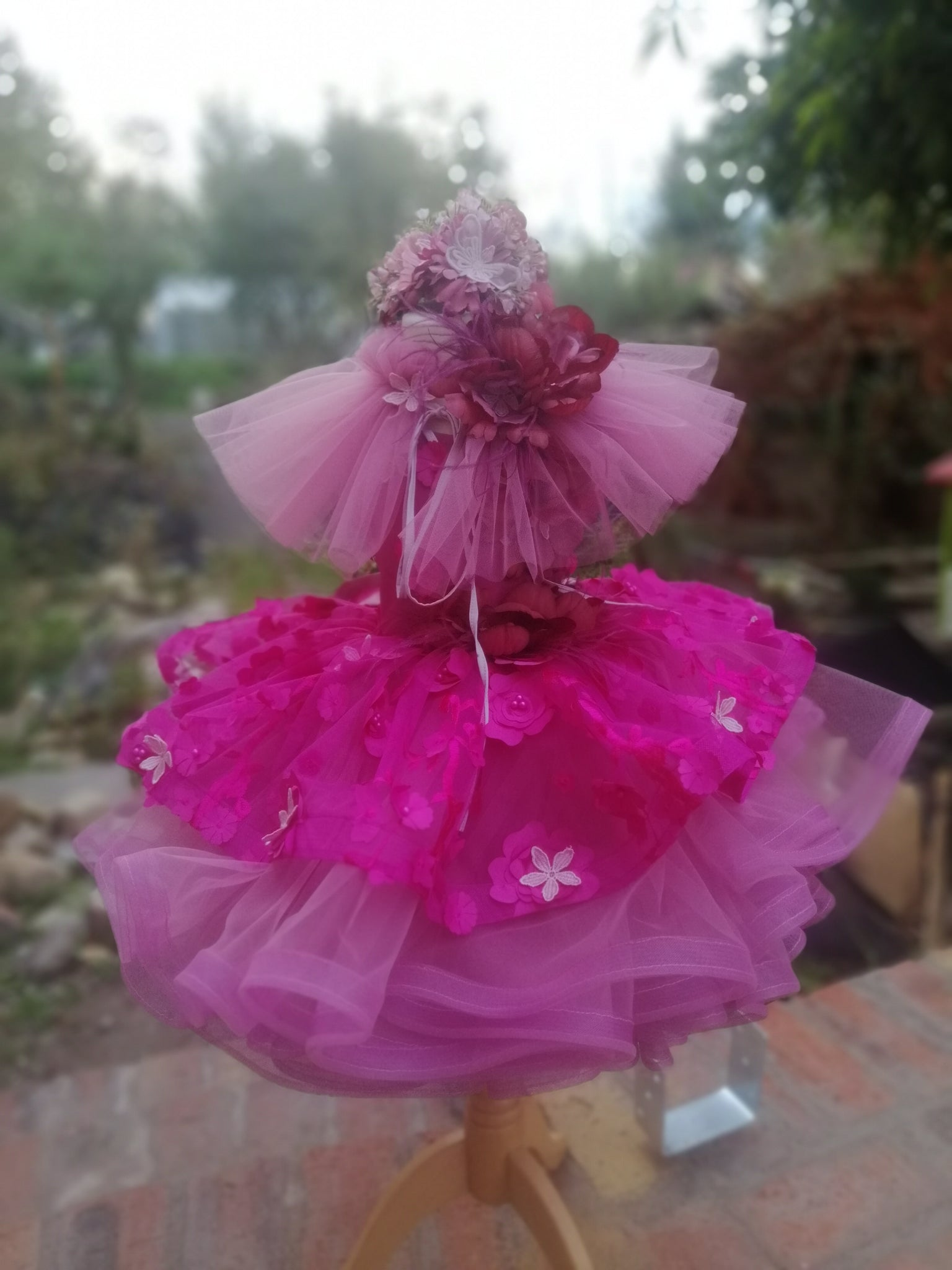 Autumn couture tutu set with collar and headpiece