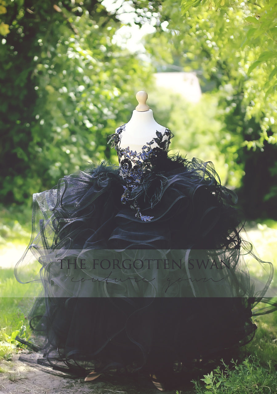 THE FORGOTTEN SWAN black couture gown