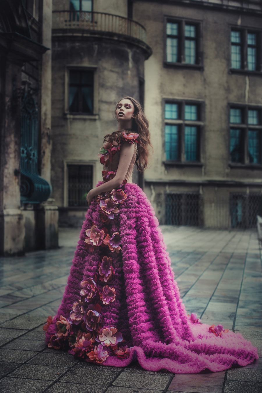 haute couture ruffle gown with train look at the queen ostrowska