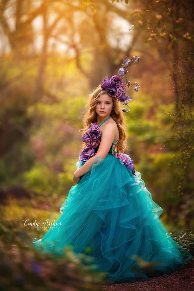 LAPIS jewel tones couture gown with flowers wedding photoshoot