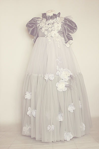 Once Upon A Time gray spring couture gown in vintage look