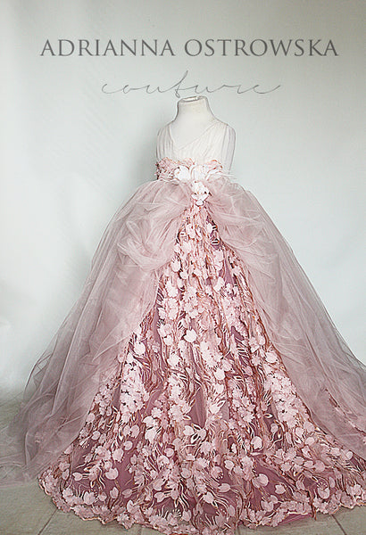 SOPHIA blush pink haute couture gown wedding flower girl photoshoot