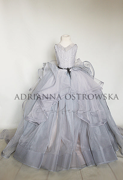 STORM grey haute couture gown wedding flower girl dress photoshoot
