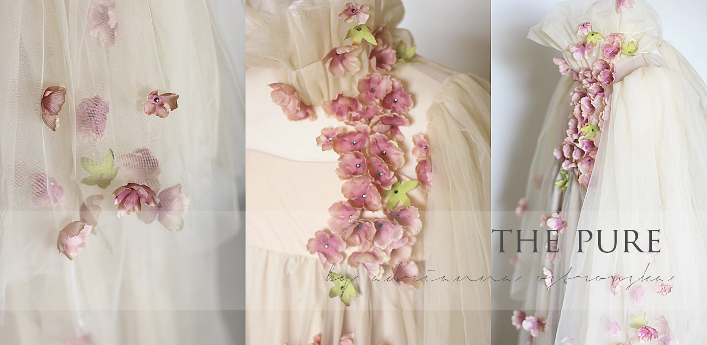THE PURE flower essence couture gown with petal and swarovski crystal