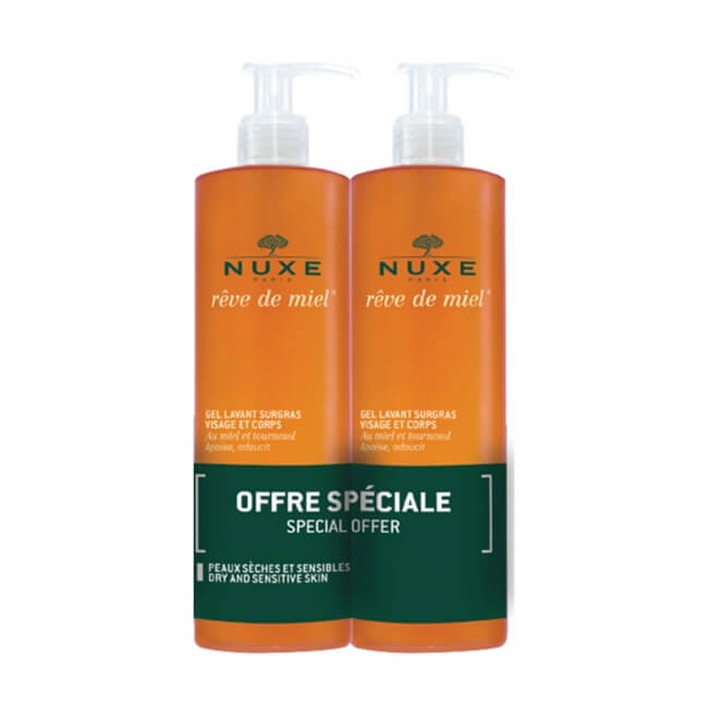 Nuxe Reve de Miel Face & Body Cleanser 400ml x 2