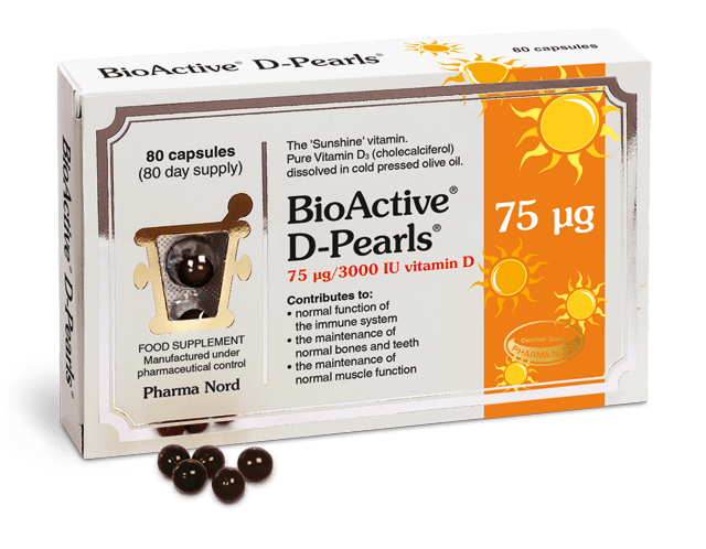 PharmaNord Bio-Active DPearls 75UG/3000IU 80 Caps