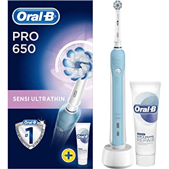Oral B Pro 650 Sensi Ultra Thin Electric Toothbrush + FREE Toothpaste