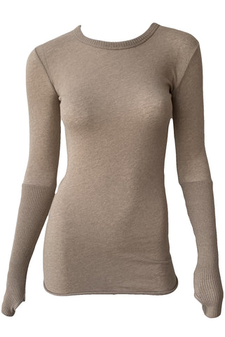 Cashmere Cuffed Long Sleeve Crew Neck Top