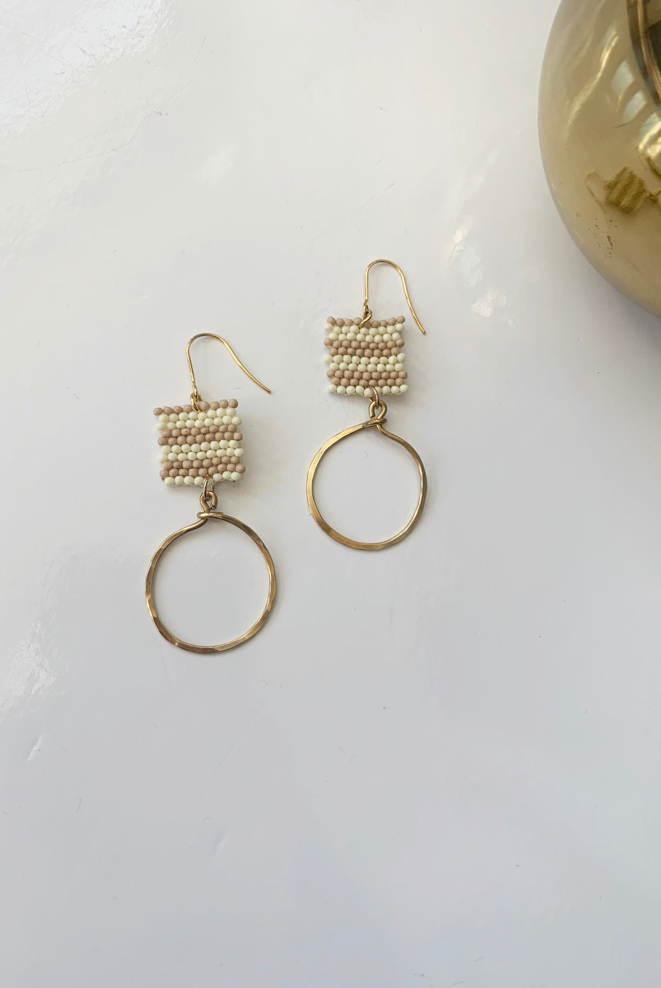 Striped Bead Drop Earrings - Augusta Twenty