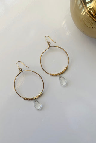 Brass Loop Teardrop Earrings - Augusta Twenty