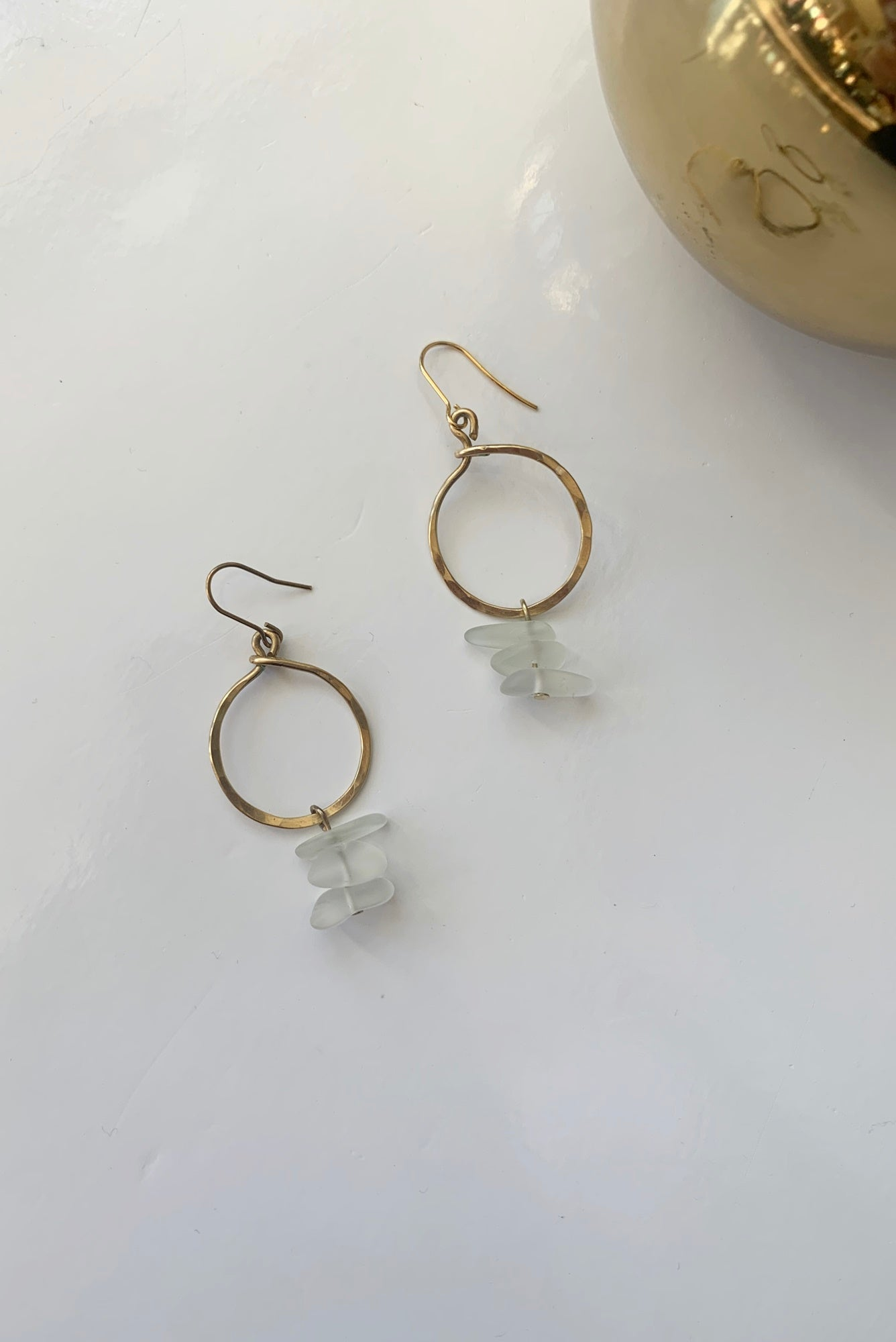 Brass & Sea Glass Loops - Augusta Twenty