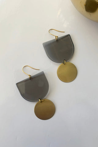 Geometric Lucite + Brass Earrings - Augusta Twenty