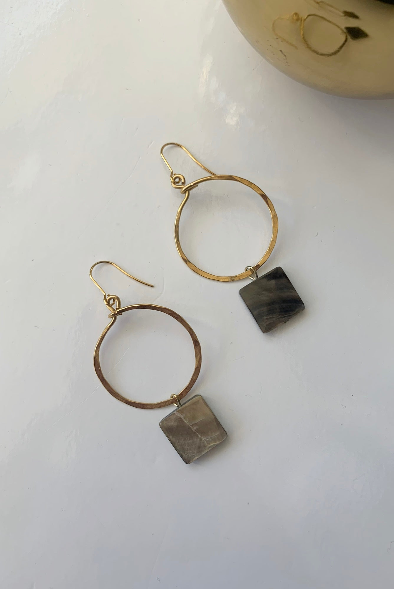 Hammered Circle + Mother of Pearl Square Drops - Augusta Twenty