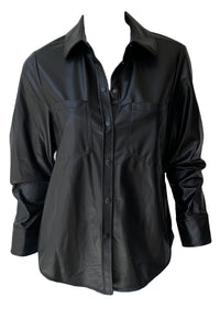 Ryder Faux Leather Pleated Sleeve Shirt