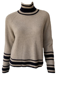 Dip Dye Striped Turtleneck Sweater
