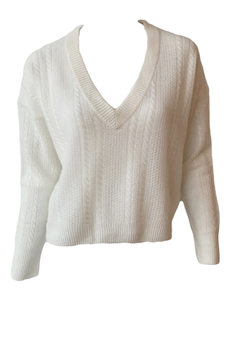 Cable Knit V-Neck Sweater - Augusta Twenty