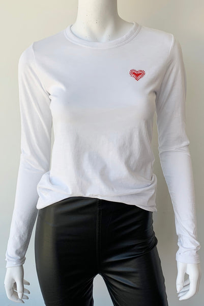 Embroidered Heart Long Sleeve Tee