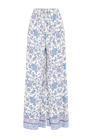 Folk Song Wide Leg Pants-Sky