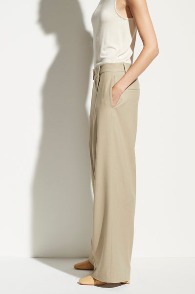 Flannel Pleated Wide Leg Pants - Augusta Twenty
