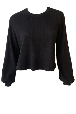 Stark Waffle Cropped Crew Neck Top