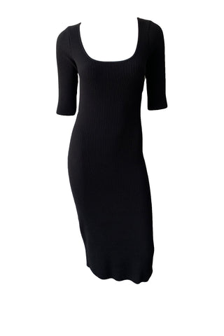 Ribbed Elbow Sleeve Scoop Neck Dress