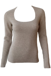 Ribbed Square Neck Long Sleeve Sweater