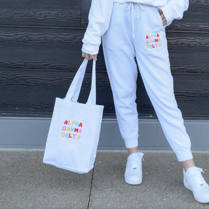 Bright & Fun White Sorority Market Tote
