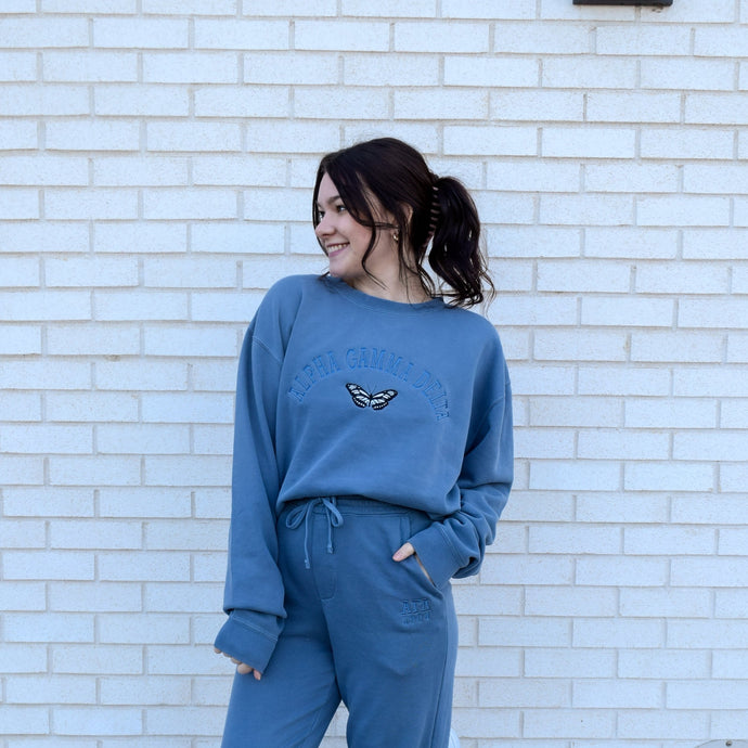 Slate Blue Pigment Dyed Butterfly Crew
