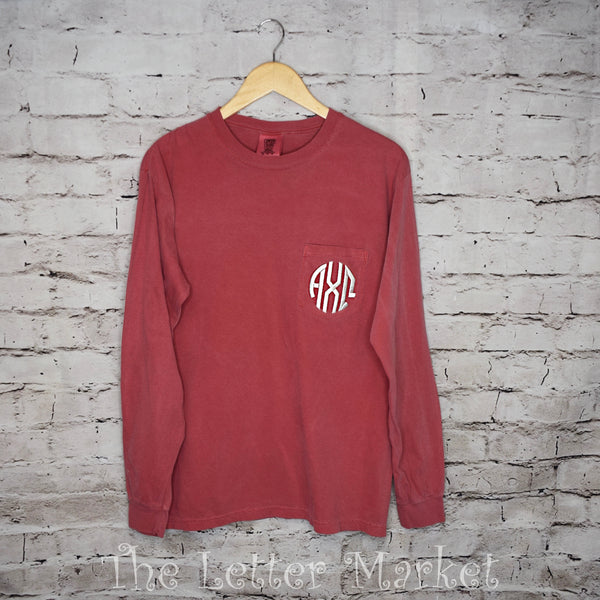 Sorority long Sleeve Comfort Colors Pocketed Tee - The Letter Market