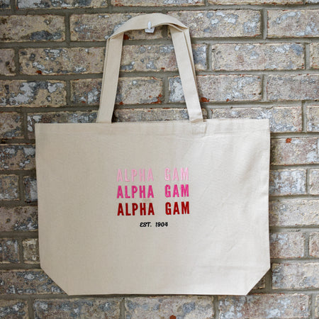 Tri-Color Sorority Canvas Bid Day Tote