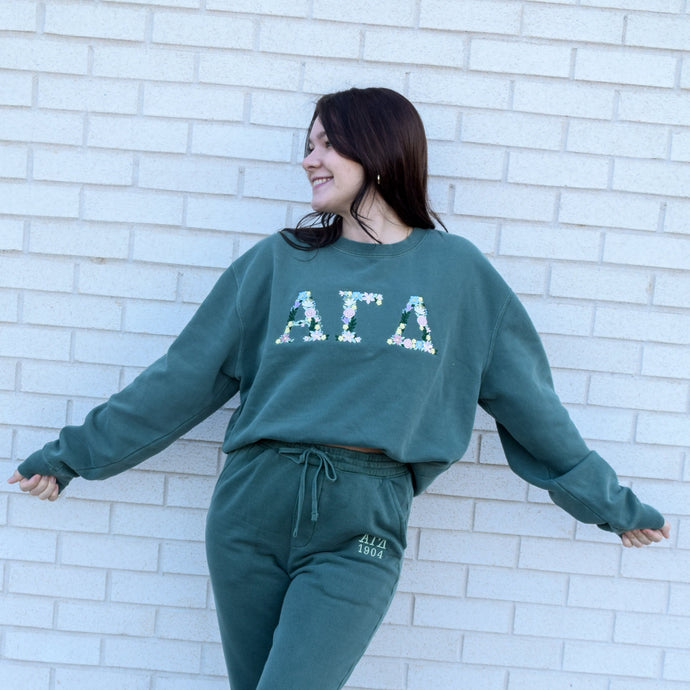 Floral Letters Alpine Green Pigment Dyed Crew