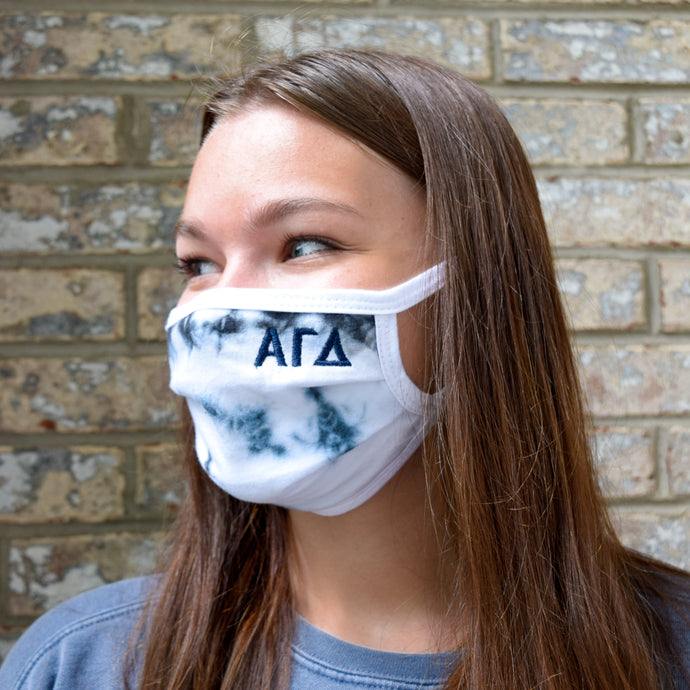 Tie Dye Greek Lettered Sorority Face Mask