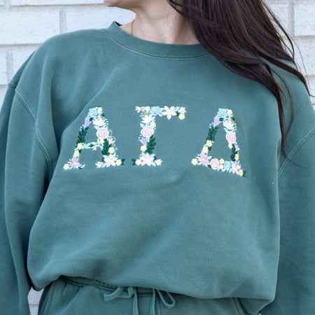 Floral Letters Alpine Green Pigment Dyed Sweat-Set