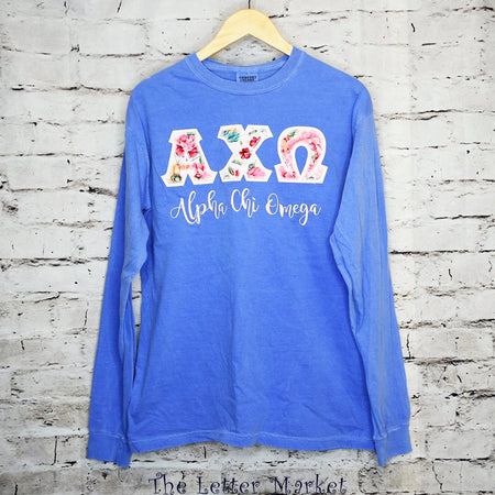 Sorority Applique Comfort Colors Long Sleeved Shirt - The Letter Market
